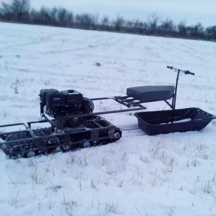 Как сделать самодельный снегоход из бензопилы?