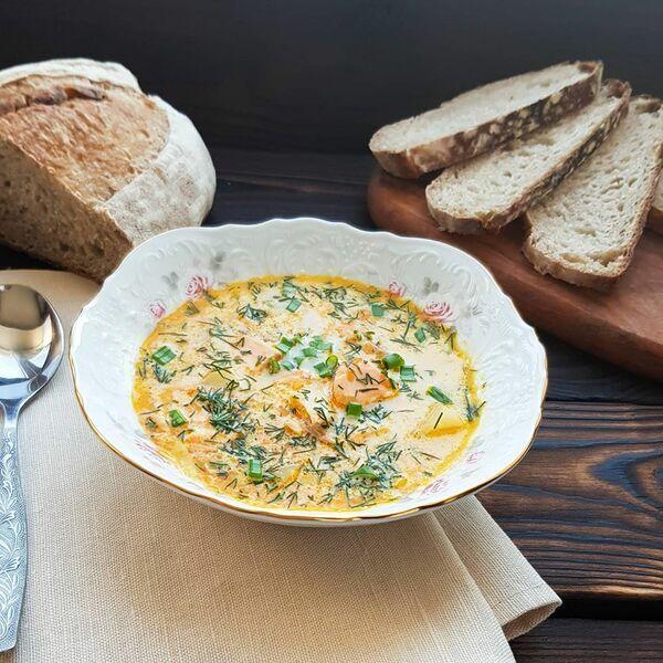Крем суп из семги