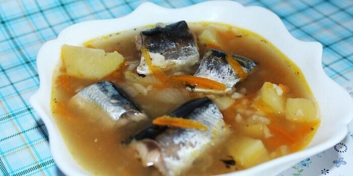 Сервировка супа из замороженной горбуши