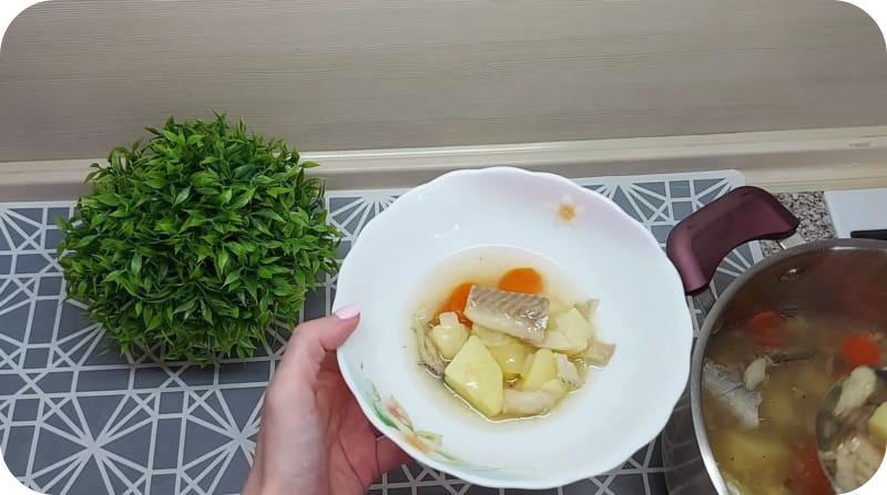Порция супа из минтая