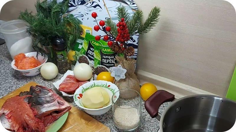 Ингредиенты для супа из форели