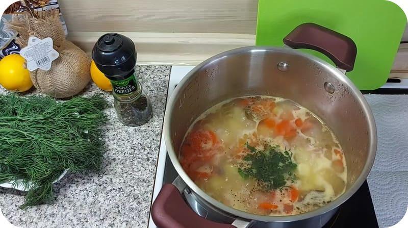 Приготовление супа из лосося