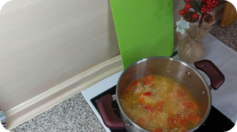 Пшенной суп из горбуши