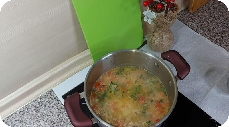 Суп с зеленью и пшеном