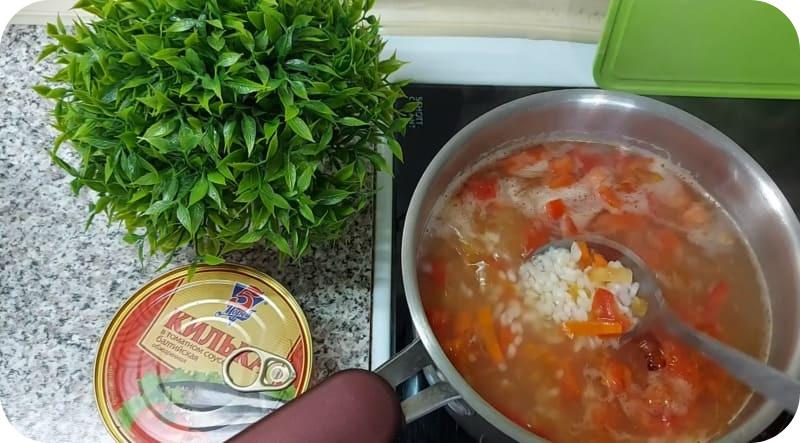 Рисовый суп из кильки