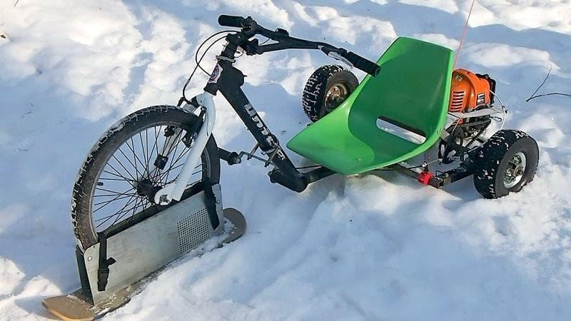 Велосипед-снегоход — как сделать своими руками