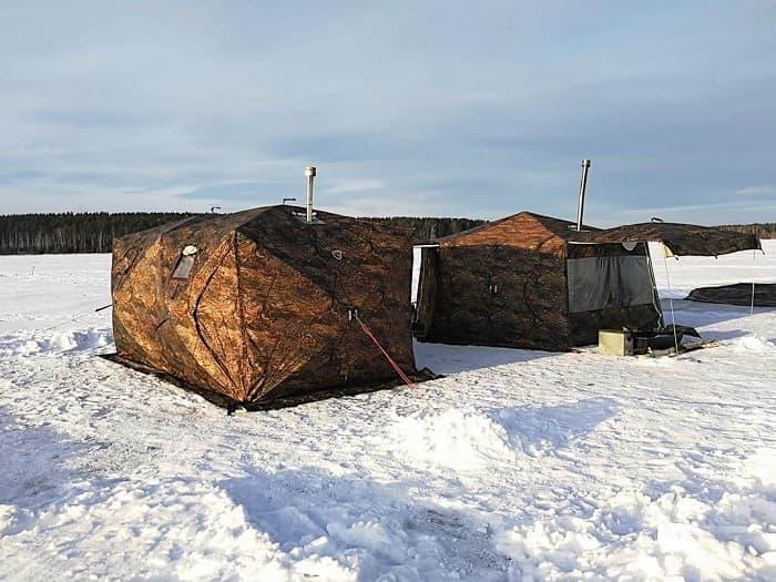 Зимняя рыбалка в палатке куб