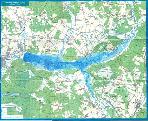 Карта глубин Вилейского водохранилища